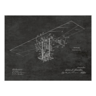 1912 Flying Machine Airplane Patent Art Drawing Poster
