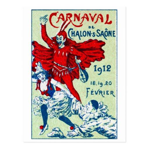 1912 franceses Carnaval Tarjeta Postal