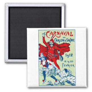1912 French Carnaval 2 Inch Square Magnet