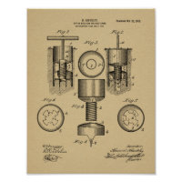 1912 Golf Cup Hole Design Patent Art Print