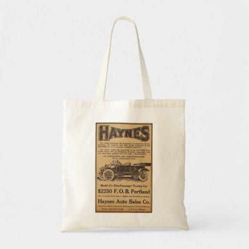 1912 Haynes vintage auto advertisement Canvas Bag