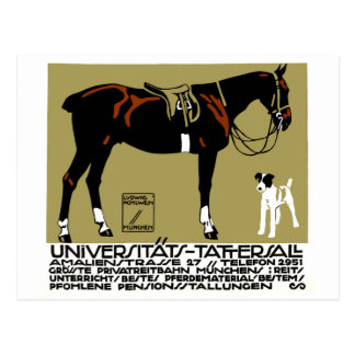 1912 Ludwig Hohlwein Horse Riding Poster Art Postcard