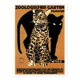 1912 Ludwig Hohlwein Leopard Munich Zoo Poster Postcard