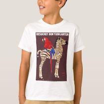 1912 Ludwig Visit The Zoo Zebra Macaw Poster T-Shirt