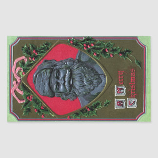 1912 Metallic Santa and Holly Vintage Christmas Rectangle Sticker