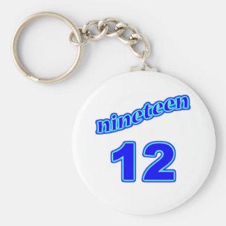 1912 Nineteen 12 Basic Round Button Keychain