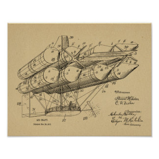 1912 Old Airship Airplane Patent Art Drawing Print