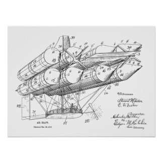 1912 Old Airship Plane Patent Art Drawing Print