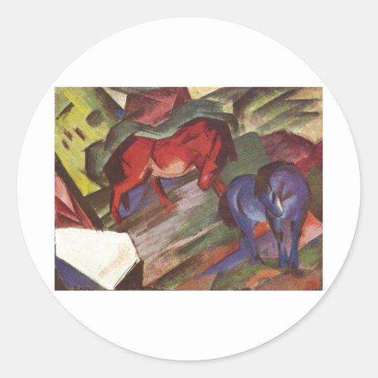 1912 rojos y azules de Franz Marc - caballos de Pegatina Redonda