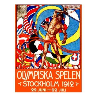Christmas Themed 1912 Summer Olympics (vintage sports poster) ~ Postcard