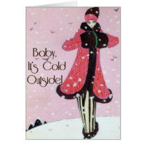 1913 Art Deco Winter Fashion Scene Card