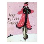 1913 Art Deco Winter Fashion Scene Post Card