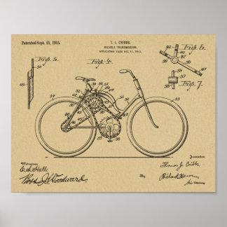 1913 Bicycle Transmission Design Patent Art Print
