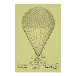 1913 Boat Airship Balloon Patent Art Drawing Print