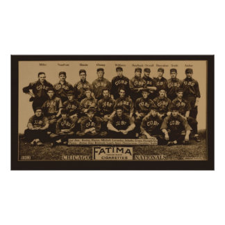 1913 Chicago Cubs Fatima Tobacco Card Poster