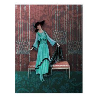 1913 de lujo Moda del vintage en aguamarina y sub Postal