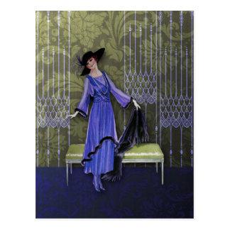 1913 de lujo Moda del vintage en púrpura y aceitu Tarjetas Postales