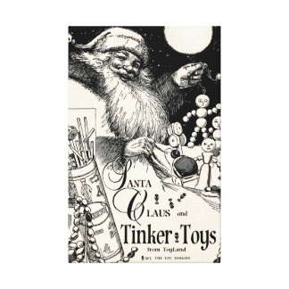 """1913 EXCLUSIVE!!! SANTA TINKER TOY"""" CHRISTMAS AD CANVAS PRINT"""