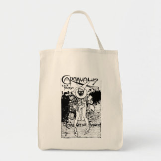 1913 French Carnival Poster, black Grocery Tote Bag