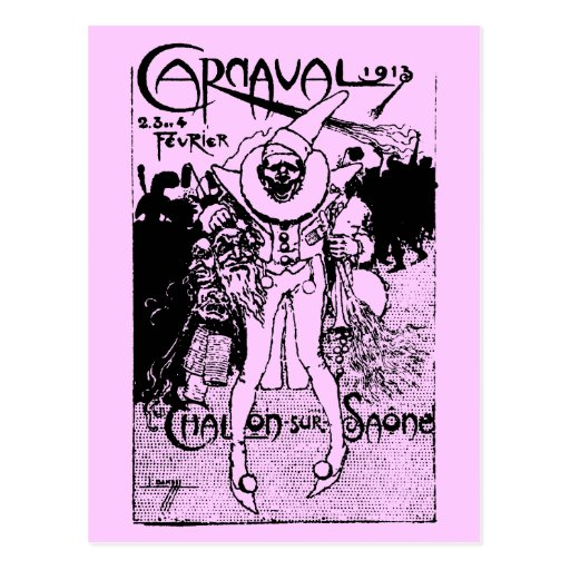 1913 French Carnival Poster, black Postcard