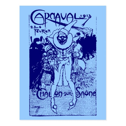 1913 French Carnival Poster, blue Post Cards