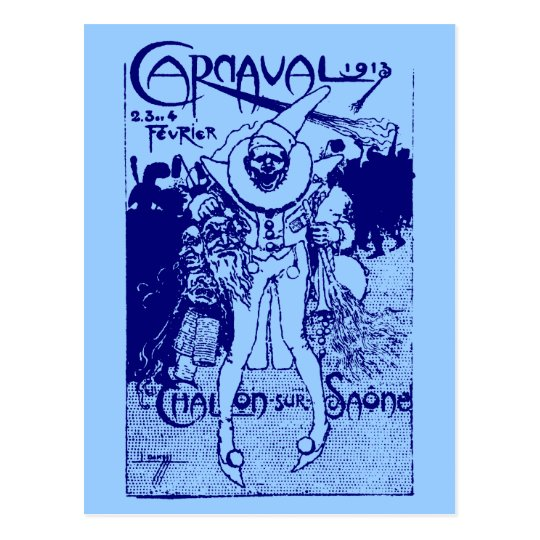 1913 French Carnival Poster, blue Postcard