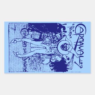 1913 French Carnival Poster, blue Rectangular Sticker