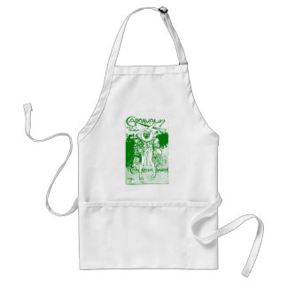 1913 French Carnival Poster, green Adult Apron