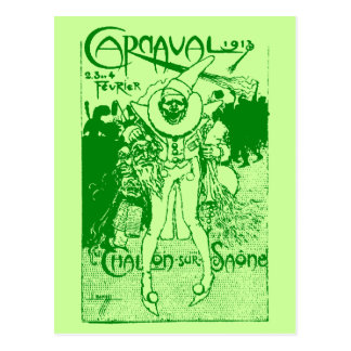 1913 French Carnival Poster, green Postcard