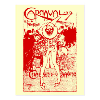 1913 French Carnival Poster, red Postcard
