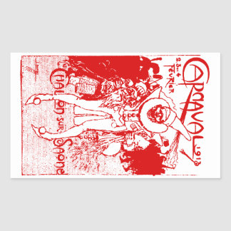 1913 French Carnival Poster, red Rectangular Sticker