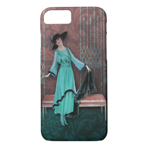 1913 Luxe: Vintage Fashion in Aqua and Rose iPhone 8/7 Case