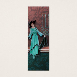 1913 Luxe: Vintage Fashion in Aqua and Rose Mini Business Card