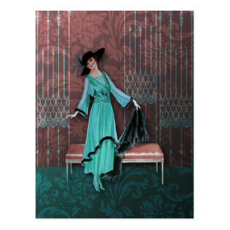 1913 Luxe: Vintage Fashion in Aqua and Rose Post Card