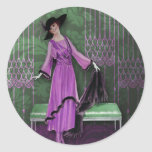 1913 Luxe: Vintage Fashion in Lilac & Mint Classic Round Sticker
