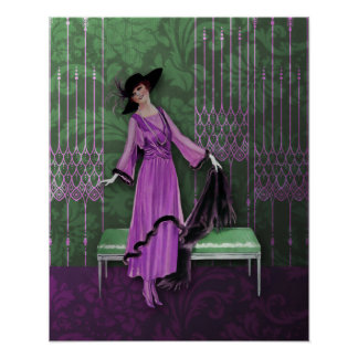 1913 Luxe: Vintage Fashion in Lilac & Mint Poster