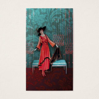 1913 Luxe: Vintage Fashion in Red and Turquoise Business Card