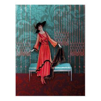 1913 Luxe: Vintage Fashion in Red and Turquoise Postcards