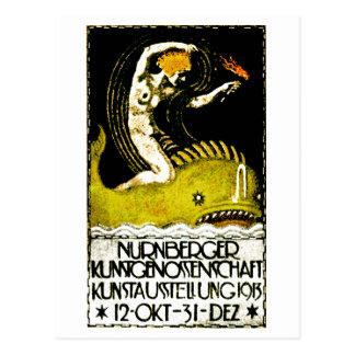 1913 Nurnberg Germany Art Exhibit Poster Postcard