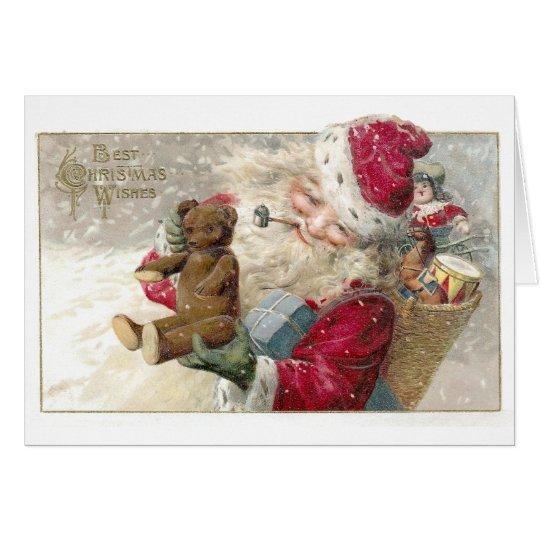 1913 Santa with Teddy Bear and Pipe Card