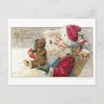 1913 Santa with Teddy Bear and Pipe Holiday Postcard