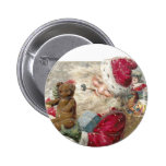 1913 Santa with Teddy Bear and Pipe Pinback Button