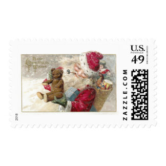 1913 Santa with Teddy Bear and Pipe Postage Stamps