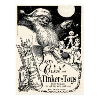 "1913 ""TINKER TOY CHRISTMAS"" W SANTA POSTCARD"
