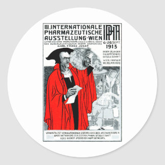 1913 Vienna Pharmacy Poster Round Stickers