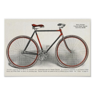1913 Vintage Men's Premier Bicycle Ad Art Poster