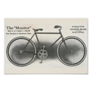1913 Vintage The Monitor Bicycle Ad Art Poster