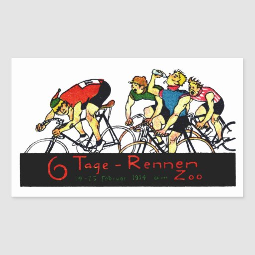 1914 Bicycle Race Poster Rectangular Sticker