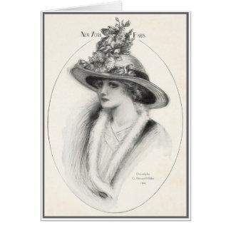 "1914! COFFEE INVITATION! ""GRAB YOUR SENSIBLE HAT"" CARD"