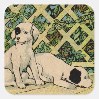 1914 dos perros que son curiosos pegatina cuadrada